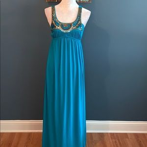 3/$15 Bailey Blue | Jeweled Neckline Teal Maxi